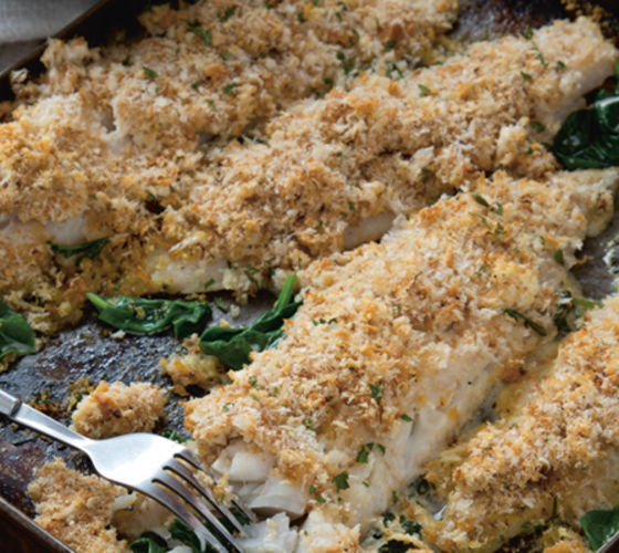 Baked whiting cream cheese spinach garlic crumble recipe