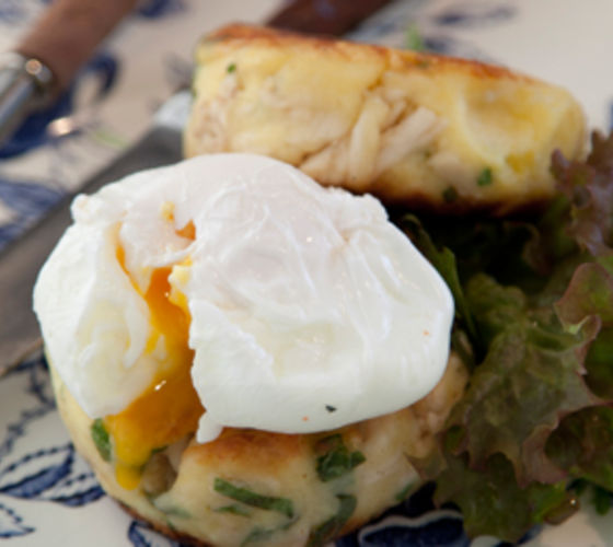 Boxty-Style Potato Cake with Chicken and Poached Egg